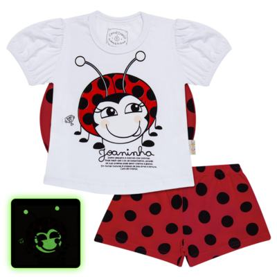 Imagem 1 do produto Pijama curto para bebe que Brilha no Escuro Joaninha - Cara de Criança - U2281 JOANINHA 10 U PIJAMA CURTO M/MALHA-3