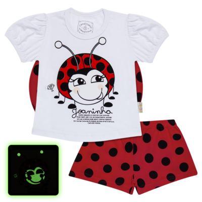 Imagem 1 do produto Pijama curto para bebe que Brilha no Escuro Joaninha - Cara de Criança - U2281 JOANINHA 10 U PIJAMA CURTO M/MALHA-2