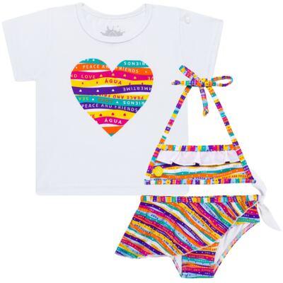 Imagem 1 do produto Conjunto de Banho Peace & Love: Camiseta + Biquíni - Cara de Criança - KIT 1 2586: B2586+CCA2586 BIQUINI E CAMISETA SUMMER-6