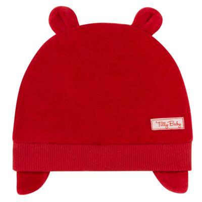 Imagem 1 do produto Touca Orelhinha para bebe em plush Vermelha - Tilly Baby - TB13173.04 GORRO BASICO DE PLUSH COM ORELHA VERMELHO-P