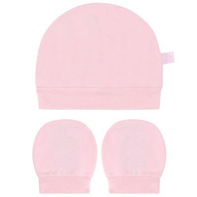 Imagem 1 do produto Kit Touca e Luva para bebe em suedine Rosa - Tilly Baby - TB13114.10 GORRO E LUVA DE SUEDINE ROSA-RN