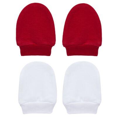 Imagem 1 do produto Kit 2 Pares de luvas em suedine Branco/Vermelho - Tilly Baby - TB13118.04 LUVA 2 PARES SUEDINE VERMELHO CEREJA-RN