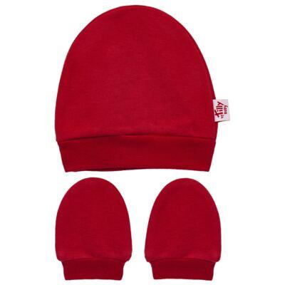 Imagem 1 do produto Kit Touca e Luva para bebe em suedine Vermelha - Tilly Baby - TB13114.04 GORRO E LUVA EM SUEDINE VERMELHO CEREJA-RN