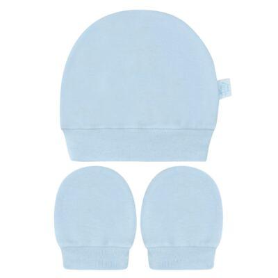 Imagem 1 do produto Kit Touca e Luva para bebe em suedine Azul - Tilly Baby - TB13114.09 GORRO R LUVA DE SUEDINE AZUL-RN