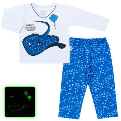 Imagem 1 do produto Pijama longo que Brilha no escuro Arraia - Cara de Criança - L2347 ARRAIA L PJ-LONGO M/MALHA-1