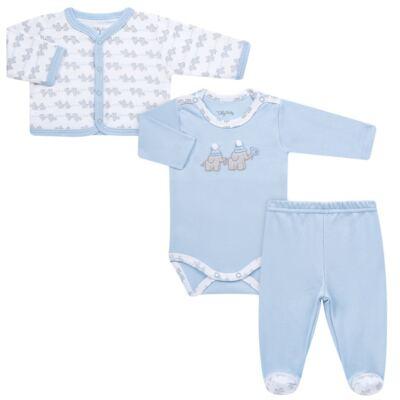 Imagem 1 do produto Conjunto Pagão Elefantinho: Casaquinho + Body longo + Calça - Tilly Baby - TB170221.01 KIT BODY CALCA E CASACO ELEFANTINHOS AZUL BEBE-RN