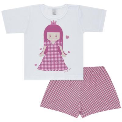 Imagem 1 do produto Pijama curto com Shorts em malha Princesinha - Cara de Sono - U1997 PRINCESINHA U PIJAMA-CURTO M/MALHA -2