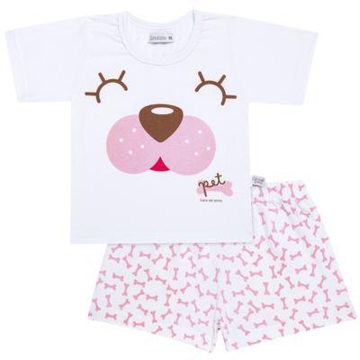 Imagem 1 do produto Pijama curto com Shorts em malha Cachorrinha - Cara de Sono - U2118 PET MENINA PIJAMA-CURTO M/MALHA-2