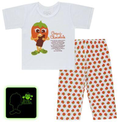 Imagem 1 do produto Pijama Curto que Brilha no Escuro Caqui Chocolate - Cara de Criança - C1912 CAQUI CHOCOLATE C PJ - MG CURTA C/CALCA M/MALHA -2