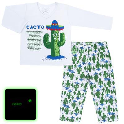Imagem 1 do produto Pijama longo que Brilha no escuro Cacto - Cara de Criança - L2371 CACTUS L PJ-LONGO M/MALHA-4