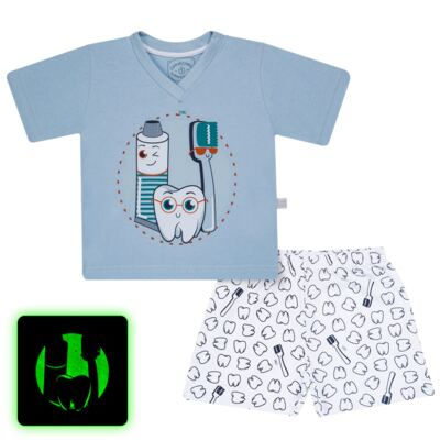 Imagem 1 do produto Pijama curto que Brilha no Escuro Dentinho - Cara de Criança - U2887 TIME SORRISO MASC. U PIJAMA CURTO M/MALHA -4