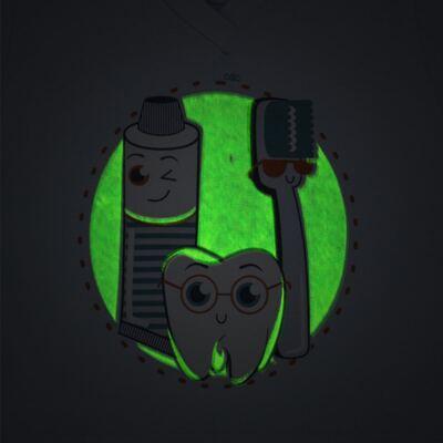 Imagem 3 do produto Pijama curto que Brilha no Escuro Dentinho - Cara de Criança - U2887 TIME SORRISO MASC. U PIJAMA CURTO M/MALHA -4