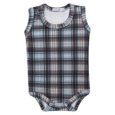 Imagem 2 do produto Body regata c/ Cobre Fralda para bebe em algodão egípcio Windsor - Roana - 02132024370 Body c/ Cueca Xadrez Azul -G
