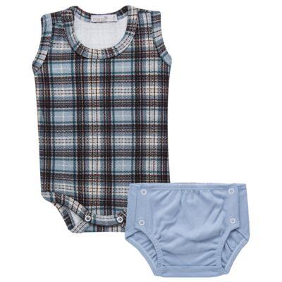 Imagem 1 do produto Body regata c/ Cobre Fralda para bebe em algodão egípcio Windsor - Roana - 02132024370 Body c/ Cueca Xadrez Azul -P