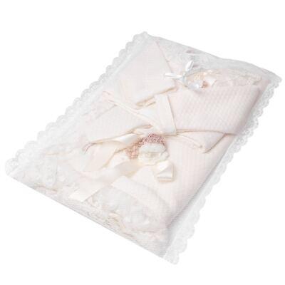 Imagem 7 do produto Saída Maternidade para bebe Chambly: Bolero + Body longo + Mijão + Manta - Roana - 19242052542 SAIDA MATERNIDADE LUXO MARFIM/ROSA SECO-RN