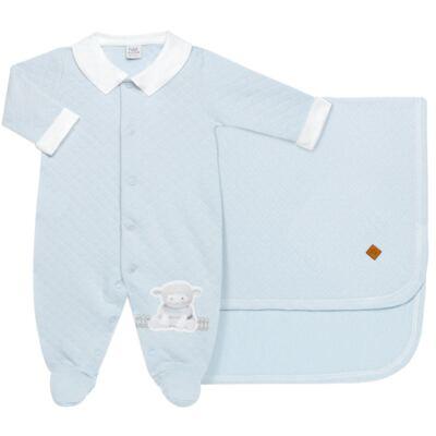 Imagem 1 do produto Jogo Maternidade com Macacão e Manta em viscomfort Ovelhinha Azul - Petit - 47094345 JG MAT. MACAC. ML GOLA MATELASSE OVELHA MASC.-P