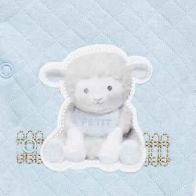 Imagem 3 do produto Jogo Maternidade com Macacão e Manta em viscomfort Ovelhinha Azul - Petit - 47094345 JG MAT. MACAC. ML GOLA MATELASSE OVELHA MASC.-P