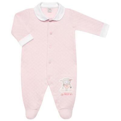Imagem 2 do produto Jogo Maternidade com Macacão e Manta em viscomfort Ovelhinha Rosa - Petit - 47084344 JG. MAT. MACAC ML C/ GOLA MATELASSE OVELHA FEM -RN