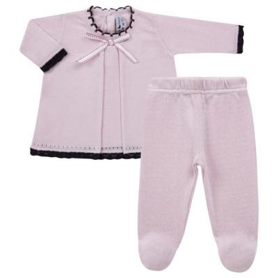 Imagem 1 do produto Vestido longo c/ Calça para bebe em tricot Anabel - Mini Sailor - 17954264 VESTIDO COM MIJAO TRICOT ROSA BEBE-0-3
