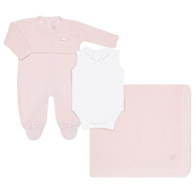 Imagem 4 do produto Jogo Maternidade com Macacão Body e Manta em tricot Rose - Petit - 47004421 Jogo Maternidade c/ Body Regata Tricot/Cot/Fu Rosa -RN