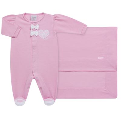 Imagem 1 do produto Jogo Maternidade com Macacão e Manta para bebe em malha Little Princess - Tilly Baby - TB168483 SAÍDA MATERNIDADE FEM ROSA BEBE-P