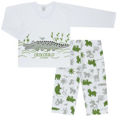 Imagem 1 do produto Pijama longo em malha Croc - Cara de Sono - L1988 CROCODILO L PJ-LONGO M/MALHA-2