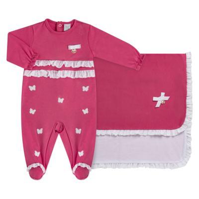 Imagem 1 do produto Jogo Maternidade com Macacão e Manta para bebe em algodão egípcio c/ jato de cerâmica Papillon - Mini & Classic - 4716658 JOGO MATERNIDADE MAC ML DET RENDA SUEDINE FLORAL NAVY-P