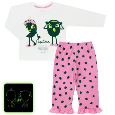 Imagem 1 do produto Pijama longo que Brilha no Escuro Azeitoninha - Cara de Criança - L1638 AZEITONA L PJ-LONGO M/MALHA-3