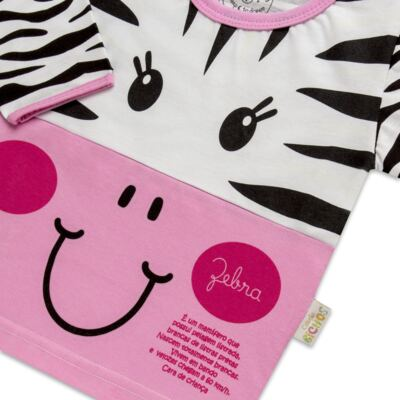 Imagem 3 do produto Pijama longo que Brilha no Escuro Zebrinha - Cara de Criança - L1646 ZEBRA L PJ-LONGO M/MALHA -3