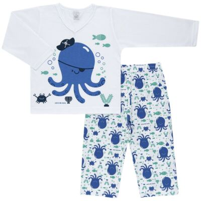 Imagem 1 do produto Pijama longo em malha Polvinho - Cara de Sono - L1991 POLVO L PJ-LONGO M/MALHA -2