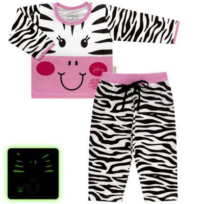 Imagem 1 do produto Pijama longo que Brilha no Escuro Zebrinha - Cara de Criança - L1646 ZEBRA L PJ-LONGO M/MALHA -1