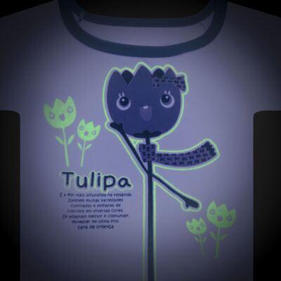 Imagem 4 do produto Pijama longo que Brilha no Escuro Tulipinha - Cara de Criança - L1687 TULIPA L PJ-LONGO CANELADO -2