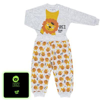Imagem 1 do produto Pijama 4 botões que Brilha no Escuro Lion - Cara de Criança - 4L1943 REI LEAO 4L PJ 4 BOTOES - LONGO M/MALHA-M