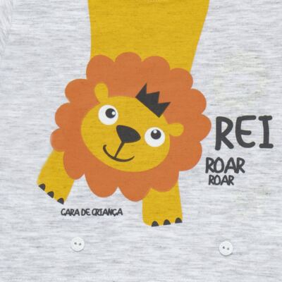 Imagem 3 do produto Pijama 4 botões que Brilha no Escuro Lion - Cara de Criança - 4L1943 REI LEAO 4L PJ 4 BOTOES - LONGO M/MALHA-G