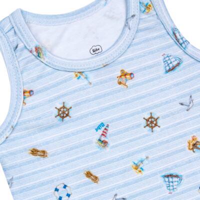 Imagem 2 do produto Regata em algodão egípcio Blue Anchor - Bibe - 38O02-G54 Regata Estampa Digital Azul-P