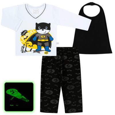 Imagem 1 do produto Pijama que Brilha no escuro BatBiel - Cara de Criança - L2378 BATBIEL L PJ-LONGO M/MALHA -2