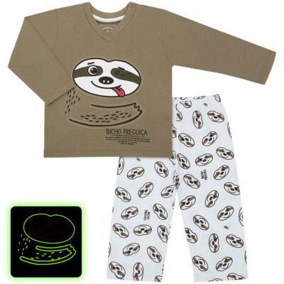 Imagem 1 do produto Pijama que Brilha no Escuro Bicho Preguiça  - Cara de Criança - L1746 BICHO PREGUICA L PJ-LONGO M/MALHA-2