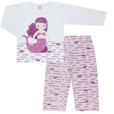 Imagem 1 do produto Pijama longo em malha Mermaid - Cara de Sono - L1995 PEQUENA SEREIA L PJ-LONGO M/MALHA -2