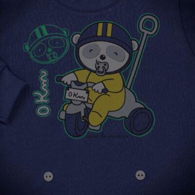 Imagem 4 do produto Pijama 4 botões que Brilha no Escuro Biel Bike - Cara de Criança - 4L2338 BIEL BIKE 4L PJ 4 BOTOES-LONGO M/MALHA-G