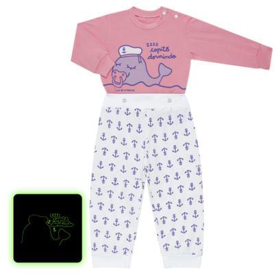 Imagem 1 do produto Pijama 4 botões que Brilha no Escuro Miss Captain  - Cara de Criança - 4L1942 BALEINHA 4L PJ 4 BOTOES-LONGO M/MALHA -GG