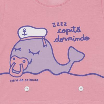 Imagem 3 do produto Pijama 4 botões que Brilha no Escuro Miss Captain  - Cara de Criança - 4L1942 BALEINHA 4L PJ 4 BOTOES-LONGO M/MALHA -P
