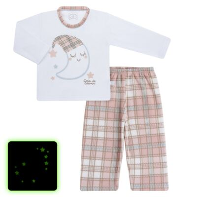 Imagem 1 do produto Pijama longo que Brilha no Escuro em soft Sleepy Moon - Cara de Criança - S2368 LUA S PIJAMA-SOFT SOFT-2