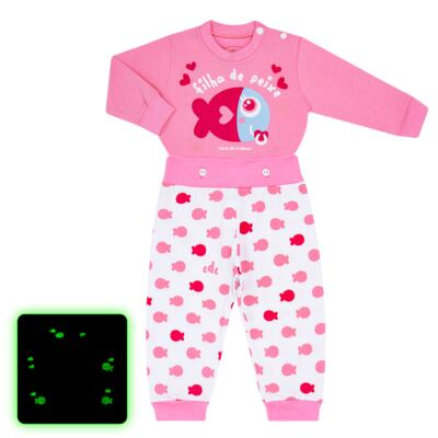 Imagem 1 do produto Pijama 4 botões que Brilha no Escuro Filha de Peixe - Cara de Criança - 4L2703 FILHA DE PEIXE 4L PJ 4 BOTOES LONGO M/MALHA-PP