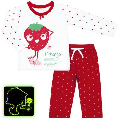 Imagem 1 do produto Pijama longo que Brilha no Escuro Moranguinho - Cara de Criança - L1635 MORANGO L PJ-LONGO M/MALHA-3
