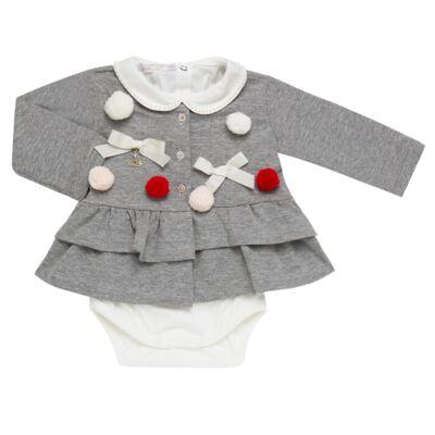 Imagem 2 do produto Conjunto para bebê Pom Pom : Casaquinho + Body longo + Calça - Roana - 26032015018 CONJUNTO LEGGING CASACO POM POM CINZA-G