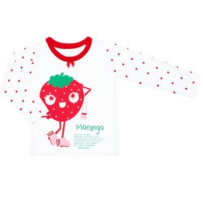 Imagem 2 do produto Pijama longo que Brilha no Escuro Moranguinho - Cara de Criança - L1635 MORANGO L PJ-LONGO M/MALHA-4