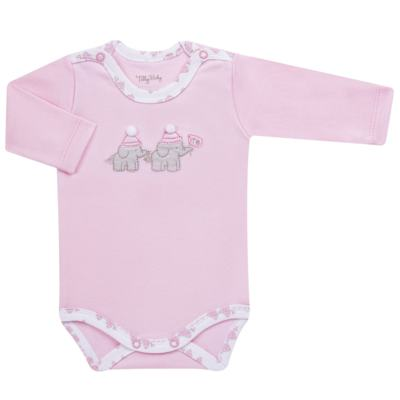 Imagem 4 do produto Conjunto Pagão Elefantinha: Casaquinho + Body longo + Calça - Tilly Baby - TB170221.02 KIT BODY CALCA E CASACO ELEFANTINHOS ROSA BEBE-M