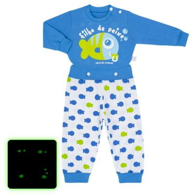 Imagem 1 do produto Pijama 4 botões que Brilha no Escuro Filho de Peixe - Cara de Criança - 4L2704 FILHO DE PEIXE 4L PJ 4 BOTOES LONGO M/MALHA-GG