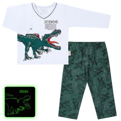 Imagem 1 do produto Pijama longo que Brilha no escuro Dinossauro - Cara de Criança - L2356 DINOSSAURO L PJ-LONGO M/MALHA-2