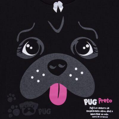 Imagem 4 do produto Pijama longo para bebe que Brilha no Escuro Black Pug - Cara de Criança - L2341 PUG FEM L PJ-LONGO M/MALHA -2